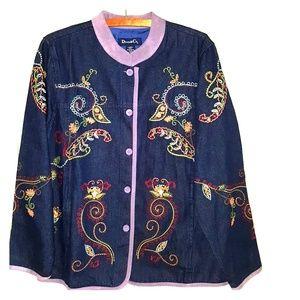 Denim & Co. Vintage Denim embroidered jacket